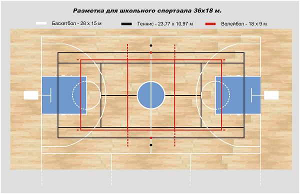 разметка спортивного зала